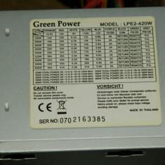 Vand sursa 420W Green power LPE2-420W, 4x molex, 24 pini mobo, 4pini CPU, 1x Floppy, vent 80mm - Sursa PC, 400 Watt