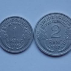 LOT 2 MONEDE FRANTA -1 FRANC, 2 FRANCS - XF