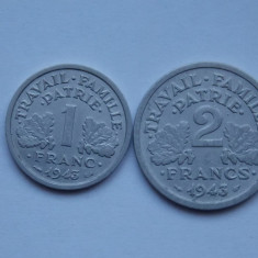 LOT 2 MONEDE FRANTA -1 FRANC, 2 FRANCS -VICHY- XF