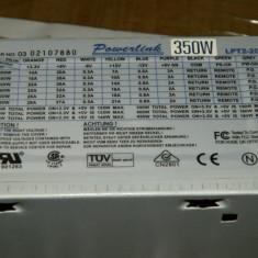 Vand sursa 350W PowerLink LPT2-20 4x molex, 20 pini mobo, 4pini CPU, 1x Floppy, vent 80mm, 350 Watt