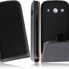 Husa Samsung Galaxy Ace 4 G357F Flip Case Slim Inchidere Magnetica Black - Husa Telefon Samsung, Negru, Piele Ecologica, Cu clapeta, Toc