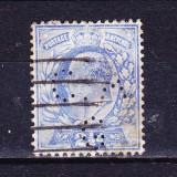 Timbre ANGLIA 1902 -11 = KING EDUARD VII, 2, 1/2 penny ALBASTRU - PERFIN C.A.G.