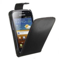 Husa Samsung Galaxy Ace 2 i8160 Flip Case Slim Inchidere Magnetica Black - Husa Telefon Samsung, Negru, Piele Ecologica, Cu clapeta, Toc