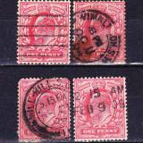 Timbre ANGLIA 1902 -11 = KING EDUARD VII, 1 penny SCARLET
