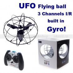 UFO - GLOB ZBURATOR CU GIROSCOP SI TELECOMANDA - 3 CANALE IR - Jocuri Logica si inteligenta, peste 14 ani, Unisex