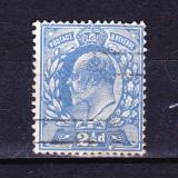Timbre ANGLIA 1911 = KING EDUARD VII, 2, 1/2 penny ALBASTRU - DANTELAT 15 X 14