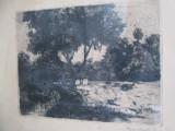 Baranski E. Laszlo - peisaj , gravura / acvaforte veche Pictor maghiar
