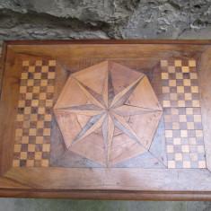 Masuta veche cu intarsie, masa antica secolul XIX