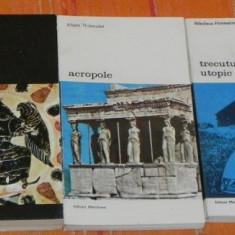 LOT 5 CARTI COLECTIA BIBLIOTECA DE ARTA - EPOCA ROMANICA, DIALECTICA SPIRITULUI GREC, ACROPOLE, TRECUTUL UTOPIC, ARTA SCULPTORILOR ROMANICI - Album Pictura