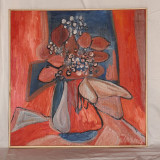 Flori de toamna - ulei pe panza - Pictor roman, Natura statica, Abstract