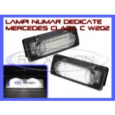 SET LAMPI DEDICATE MERCEDES CLASA C W202, CLASA E W210 - LAMPA PLACUTA NUMAR INMATRICULARE - 18 LED LEDURI SMD - CULOARE ALB XENON 6000K