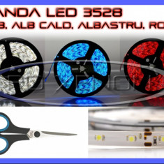 BANDA 60 LED LEDURI 3528 / METRU - ALB 6000K (ALBA), ROSU (ROSIE), ALBASTRU (ALBASTRA), GALBEN (GALBENA), RGB - IMPERMEABILA FLEXIBILA - PRET PE 10 CM