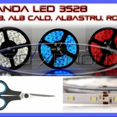 BANDA 60 LED LEDURI 3528 / METRU - ALB 6000K (ALBA), ROSU (ROSIE), ALBASTRU (ALBASTRA), GALBEN (GALBENA), RGB - IMPERMEABILA FLEXIBILA - PRET PE 10 CM - Banda LED ZDM
