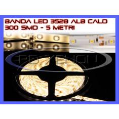 ROLA BANDA 300 LED - LEDURI SMD 3528 ALB CALD 3000K (ALBA, ALBE) - 5 METRI, IMPERMEABILA (WATERPROOF), FLEXIBILA