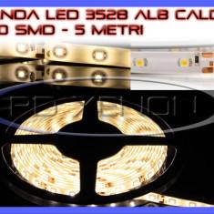 ROLA BANDA 300 LED - LEDURI SMD 3528 ALB CALD 3000K (ALBA, ALBE) - 5 METRI, IMPERMEABILA (WATERPROOF), FLEXIBILA - Banda LED ZDM