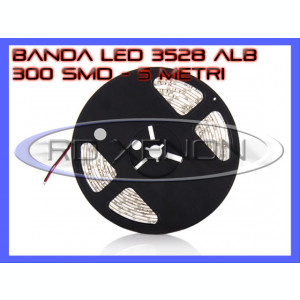 ROLA BANDA 300 LED - LEDURI SMD 3528 ALB (ALBA, ALBE) - 5 METRI, IMPERMEABILA (WATERPROOF), FLEXIBILA