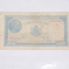 Bancnota cinci mii lei 21 August 1945 ~ V 0398736 ~ - Bancnota romaneasca