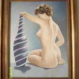 Nud superb semnat JJ Visser anii 60-70 ulei pe carton - Pictor roman