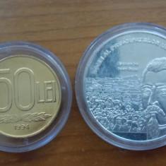 Medalie aniversara Alexandru Cuza din aluminiu poleit cu argint + moneda50 lei 1994 poleit cu aur - Moneda Romania