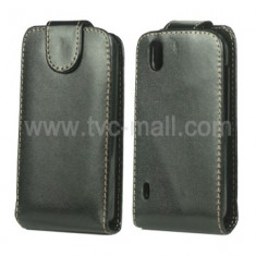 Husa toc LG Optimus Black p970 husa neagra piele ecologica - Husa Telefon LG, Negru, Cu clapeta