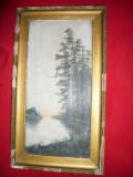 Tablou vechi ,ulei pe panza -Peisaj Chinezesc ,semnat , sf.sec.XIX-inc.sec.XX
