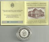 Medalie moneda BNR 125 Ani , 2005, nr 484, ARGINT  cu Caseta si Certificat BNR