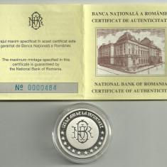 Medalie moneda BNR 125 Ani, 2005, nr 484, ARGINT cu Caseta si Certificat BNR - Medalii Romania