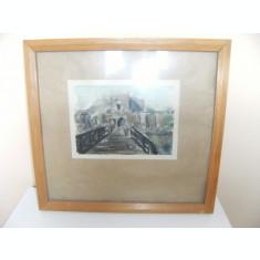 Tablou vechi pe carton,cu rama de lemn 21x15