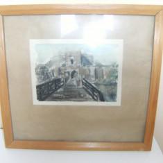 Tablou vechi pe carton, cu rama de lemn 21x15 - Pictor roman, Peisaje, Art Deco
