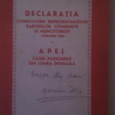 DECLARATIA CONSFATUIRII REPREZENTANTILOR PARTIDELOR COMUNISTE SI MUNCITORESTI NOEMBRIE 1960 APEL CATRE POPOARELE DIN LUMEA INTREAGA - Carte Epoca de aur