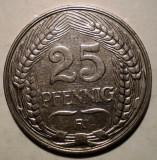 E.366 GERMANIA DEUTSCHES REICH 25 PFENNIG 1910 A, Europa, Nichel