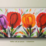 Tablou modern floral - Lalele - ulei pe panza 120x60cm LIVRARE GRATUITA 24-48h - Reproducere