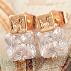 Cercei dublu placat aur 18k cristale zirconiu, cod produs CW7 - Cercei Fashion