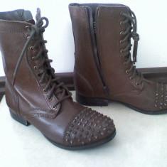 Ghete piele naturala bocanci cizme BAKERS by asos maro tinte botine zara 38 noi - Ghete dama