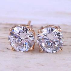 Cercei dublu placati aur 18K cristale zirconiu cod CW13 - Cercei placati cu aur
