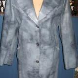 GEACA NOUA MODA LINEA CLASIC-L/XL - Palton dama, Culoare: Albastru, Piele