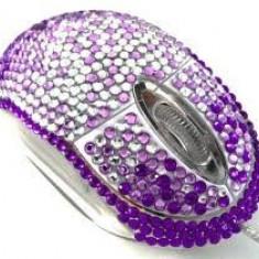 Mouse Ultra cu cristale Swarovski- Pentru Valentines Day, Martisor - Iubita / Prietena Amica, USB, Optica, 1000-2000