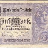Germania bancnota 5 marci 1917