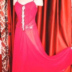 Rochie rosie de seara, eleganta, de nasa /nunta/ocazie marime 38 cu paiete - Rochie de seara, Culoare: Rosu, Maxi, Cu bretele, Voal