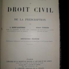 Traite theorique et pratique de DOIT CIVIL de la PRESCRIPTION, 1899 - Carti Zootehnie