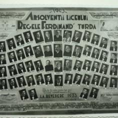 "TURDA  - ABSOLVENTII LICEULUI ""REGELE FERDINAND"" TURDA - PROMOTIA 1943, Necirculata, Fotografie"