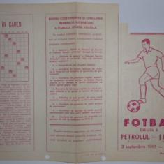 Program meci fotbal PETROLUL Ploiesti - JIUL Petrosani 03.09.1967