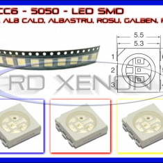 SET 10 BUC LED LEDURI SMD PLCC6 5050 - ILUMINARE INTERIOR AUTO, BORD, Universal, ZDM