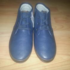 Panofi Pull and Bear, Marime 43 - Pantofi barbat, Culoare: Albastru, Piele sintetica