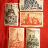 Serie Catedrale si Biserici 1947 Franta, 5 val.