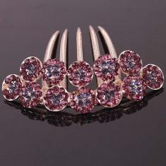 Accesoriu de par placat cu Aur 18k cu cristale Swarovski Magic Flower - Brosa Swarovski