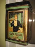 Cutie mare metalica veche- Ceai FLORA BHB.
