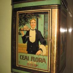 Cutie mare metalica veche- Ceai FLORA BHB. - Cutie Reclama