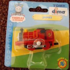 Thomas the Tank Engine Tomy Wind-Up trenulet - locomotiva JAMES - in ambalajul original - ( transport 2.6 RON la plata in avans ) - NOU, Plastic, Unisex