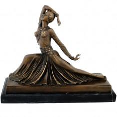 CLARA CHIPARUS - STATUETA DIN BRONZ PE SOCLU DIN MARMURA - sculptura reproducere, Nud